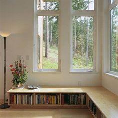 Bibliotheque basse pour dessous de fenêtre