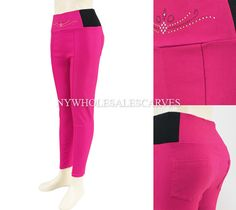 Solid Color Jeggings CY-215-2 HotPink