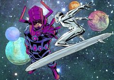 Silver Surfer vs. Galactus by Sanford Greene