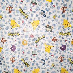 Vtg Pokemon Double Flat Sheet Pikachu Charmander Material Crafts Fabric DIY