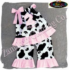 e9546228b64 Custom Boutique Clothing Birthday Baby Girl Barn Farm Cow Outfit Top Pant  Set Pink Gingham 1st 2nd 3 6 9 12 18 24 Month Size 2T 3T 4T 5T 6 7
