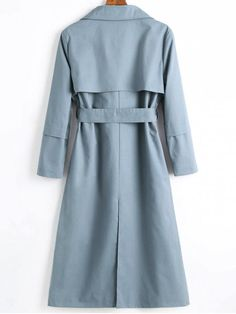 Longline Skirted Belted Trench Coat - STONE BLUE L