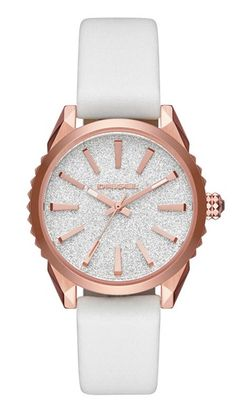 951b6851e9c Diesel Nuki DZ5541 Women s Rose Gold and White Leather Casual Watch Diesel  Uhr