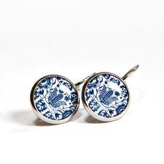 d1162f277 náušnice folklorní motiv modrý - chirurg.ocel / Zboží prodejce HelkaAndr