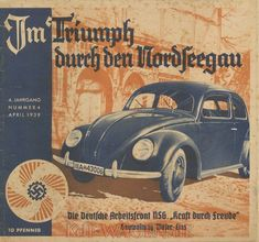 "1939 advertisement for the Volkswagen KdF-Wagen (predecessor name of Beetle). The auto manufacturer, Volkswagen, was founded as part of the German Labour Front's 'Kraft durch Freude', (thus the name 'KdF') or ""Strength Through Joy"" policy, all which was highly representative to the ideological tenants of the National Socialist platform governing the Reich. The vehicle was conceptualized and developed by both Adolf Hitler and Ferdinand Porsche, the founder of the Porsche auto brand. It's…"