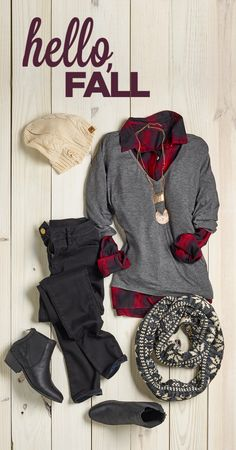 Black booties and plaid are totally fall fashion must-haves. Pair booties with a plaid shirt, skinny jeans and an oversized scarf for the ultimate comfy and fashionable fall outfit. Plaid Shirt Outfits, Casual Outfits, Cute Outfits, Look Fashion, Fashion Outfits, Womens Fashion, Teen Fashion, Fall Fashion Trends, Winter Fashion
