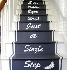 Wall Decals Quote Every Journey Begins. Staircase Stairway Stairs Words Phrase Home Vinyl Decal Sticker Kids Nursery Baby Room Decor Stairs Vinyl, Staircase Decals, Basement Stairs, Luxury Staircase, Staircase Design, Book Staircase, Tiled Staircase, Stair Quotes, Stair Stickers