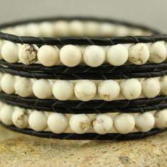 Three wrap turquoise leather bracelet, turquoise bracelet, beaded bracelet, ETS - B213