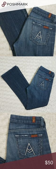 """7Fam """"A pocket"""" Good condition. Size 26. Light stitch A on pockets.   Inseam: 28 1/2"""" 7 For All Mankind Jeans"""