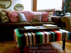 sadie + stella: diy: rug upholstered ottoman