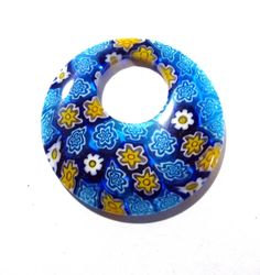 40mm GLASS Millefiori Donut Pendant Millefiori FLOWERS Blue Yellow Glass Donut Pendant 40mm Large Glass Focal Jewelry Supplies (Y122) by punksrus on Etsy