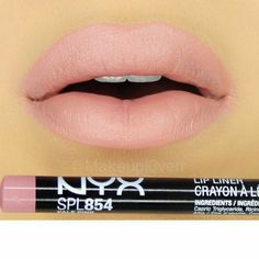 """NYX """"Pale Pink"""" and I added a small amount of """"Shy Marsala"""" Cream Matte Lipstick Pretty Makeup, Love Makeup, Beauty Makeup, Makeup To Buy, Kiss Makeup, Pink Lipsticks, Matte Lipstick, Nyx Lip, Makeup Dupes"""