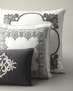 #HORCHOW Ivory & Gray Pillows by Ankasa at Horchow. Need all 3 of these styles! Can make perfect accents for bedrooms.