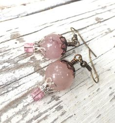 Hot air balloon jewelry pink quartz earrings by crushedcameo
