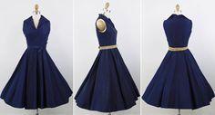 Vibrant Navy Blue Taffeta Dress