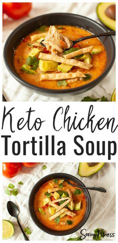 This Keto Chicken Tortilla Soup is a great way to enjoy healthy soup made in the Instant Pot! It's low carb, gluten free, and can easily be made dairy free. Low Carb Soups | Keto Soups | Keto Lunch | Keto Meals #keto #lowcarb #glutenfree Best Gluten Free Recipes, Sugar Free Recipes, Keto Recipes, Chicken Tortilla Soup, Keto Chicken, Veggie Soup, Lunch Recipes, Real Food Recipes, Soup Recipes