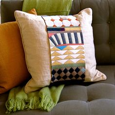 geometric PILLOW WRAP multi color made from by plytextiles on Etsy, $52.00