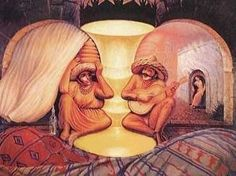 Two elderly faces, or a larger scene?