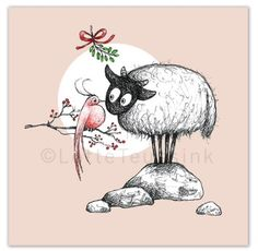 Connemara sheep Christmas card, part of a series of 5. Made by Lotte Teussink.