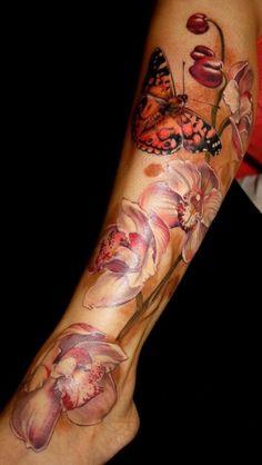 Laura Juan Tattoo | Orchids | Butterfly