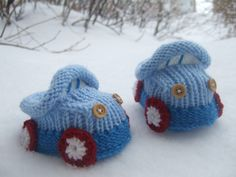 "Knitting Pattern For Baby Booties ""Cars"""