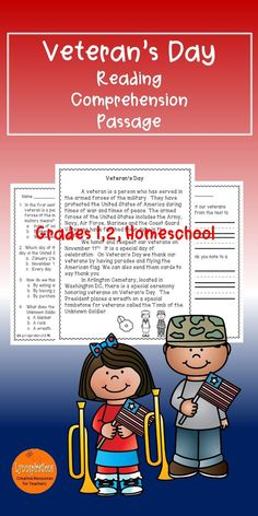 This engaging Veteran's Day reading comprehension passage for grades 1-2 can be used in your class to help your students with reading comprehension skills as well as with test taking skills.  Please download and enjoy!  Included: An engaging passage with 4 multiple choice questions and 2 written responses.
