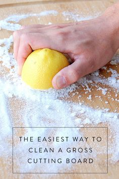 If your cutting board has seen better days, before throwing it out, clean it like this. You're going to need more than just soap and water but it'll be worth it.
