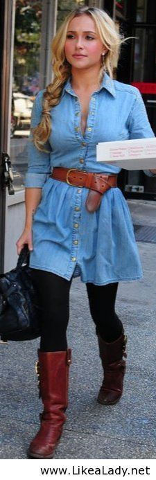 Belted denim dress with tights and boots