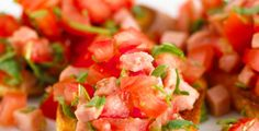 Bruschetta Tasty, Yummy Food, Bruschetta, Dessert, Dinner, Snacks, Ethnic Recipes, Drink, Basil