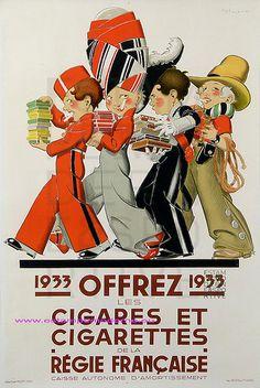 Louis Icart 1933 Offrez Cigares et Cigarettes de la Regie Française 149X98 Atelier Rene Vincent Paris   Flickr - Photo Sharing!
