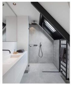 Relaxing Bathroom Ceiling Lights Ideas For Cozy Bathroom To Try Relaxing Bathroom Ceiling Lights Ideas For Cozy Bathroom To Try Bathroom Inspiration // Inspi Deco Emotive renovation of a house: by ewaa - Bad Dusche unter Schräge Sloped Ceiling Bathroom, Small Attic Bathroom, Small Bathroom Tiles, Relaxing Bathroom, Upstairs Bathrooms, Bathroom Plumbing, Industrial Bathroom, Bathroom Lighting, Bathroom Black