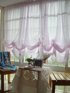 """Victorian Pink with White Lace Adjustable Balloon Curtain by Victoria's Deco. $36.99. measures about 55"""" (wide) x 70"""" (Height).. 4 levels for adjustment. 100% cotton. pink base with crochet  white lace  the top and bottom. Here is one piece gorgeous cotton curtain shade. It is Victorian balloon curtain style with lovely off white crochet lace edge. Very pretty ruffles down the hem make this beautiful drape even more soft and feminine. There are four level for adjustable height..."""