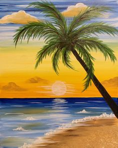Painting Parties & Classes in Naperville - Paint & Sip Events Easy Nature Paintings, Easy Landscape Paintings, Cute Canvas Paintings, Scenery Paintings, Simple Acrylic Paintings, Small Canvas Art, Diy Canvas Art, Beach Sunset Painting, Sunrise Painting