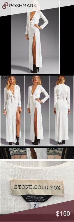 Stone Cold Fox Desire Gown Stone Cold Fox Desire white maxi gown, thigh slit . Size 3 (Medium) worn once , dry cleaned . Stone Cold Fox Dresses Maxi