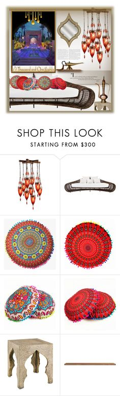 """Arabian Nights"" by fassionista ❤ liked on Polyvore featuring interior, interiors, interior design, home, home decor, interior decorating, Fine Art Lamps, Felix, Currey & Company and homedesign"