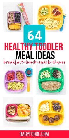 These 64 Toddler Meal Ideas are healthy, simple to make and can be customized to fit any toddler's preferences. This inspirational guide includes balanced and wholesome breakfast, snacks, lunch and dinner meal ideas. #toddlerrecipes #toddlerbreakfast #toddlerdinner #toddlersnacks #lunchbox Healthy Toddler Breakfast, Picky Toddler Meals, Toddler Snacks, Breakfast Snacks, Lunch Snacks, Lunches And Dinners, Meal Plan For Toddlers, Dinner Meal, Baby Led Weaning