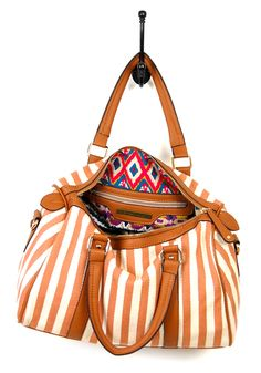 I love the lining in this striped bag.