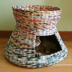 Faire une panière pour chat en papier recyclé
