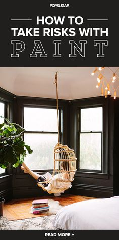 Black walls in the bedroom....just love the hanging chair. must have one in the house somewhere...
