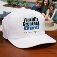 World's Greatest Dad Personalized #FathersDay Hats. Our World's Greatest Personalized Hat is available on our premium white cotton/poly Hat with adjustable back strap for a one size fits all. Includes FREE Personalization! Make Father's Day extra special with this Personalized Father's Day Gift for Dad or Grandpa. Personalize your gift with any title and up to 6 names. Also makes a great personalized gift for Uncle. Makes a great gift for Dad on Father's Day.