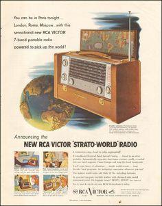 1953 Vintage ad for New RCA Victor Strato-World Radio Photo (010716)