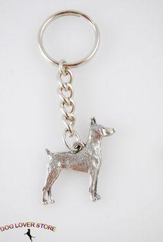 Doberman Pinscher Dog Fine Pewter Silver Keychain Key Chain Ring