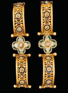 Pair Of Byzantine Bracelets | 5th-7th Century CE | Gold, lapis lazuli, glass & pearl | Valued 310,000-450,000 US dollars; via Christie's