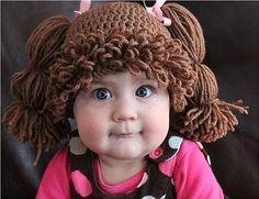 gorrito tejido a mano estilo cabbage patch niñas y bebes