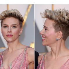 Scarlett Johansson brought a bit of edge to the Oscars red carpet on Feb. 26. Rocking a short pixie cut with shaved sides, Scarlett's makeup was soft and feminine. Get the details on her late…