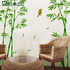 Large Size Bamboo Birds Tree DIY Vinyl Wall Stickers Home Decor Kids Rooms Art Decals 3D Wallpaper Decoration Adesivo De Parede
