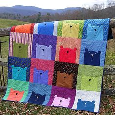 Image of Peekaboo Bear Quilt Pattern PDF I want to make one of these for teddy spaghetti