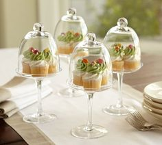 Love the creative possibilities of these sweet little pedestals. Use the dome or stand alone. Display ornaments, mini gardens, truffles ... very fun! #aclearplace