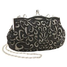 Classic Elegant Baguette Style Embroidered Hand Seed Beaded Evening Clutch Purse Fashion Handbag w/ Detachable Chain