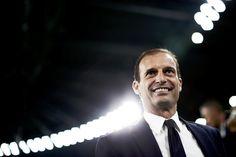 Juventus' Italian coach Massimiliano Allegri smiles during the Italian Serie A…